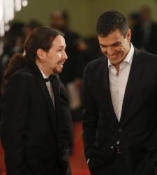 Así posaron Pablo Iglesias, Albert Rivera y Pedro Sánchez en la alfombra roja de los Premios Goya