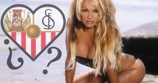 Pamela Anderson, pillada entre besos y abrazos con un futbolista del Sevilla