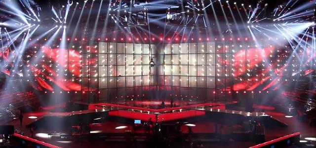 El escenario de Eurovisión, listo para el comienzo del festival