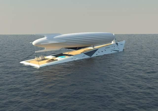 Un yate concepto con dirigible