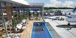 Una piscina infinita frente a la pista de aterrizaje de Punta Cana y otras salas VIP de aeropuerto