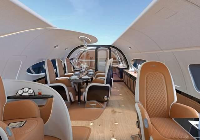 Volando al aire libre en un jet