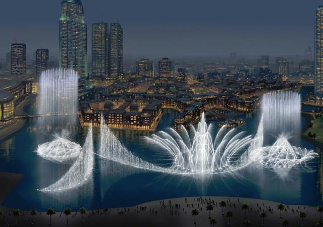 Dubai fountain un espect culo de luz y color en la for Espectaculo de dubai fashland