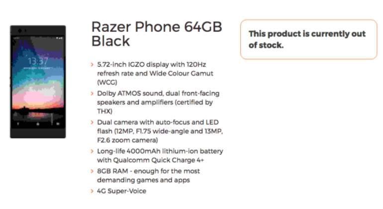 Nuevo Razer Phone, con 8GB de RAM y diseñado para gamers