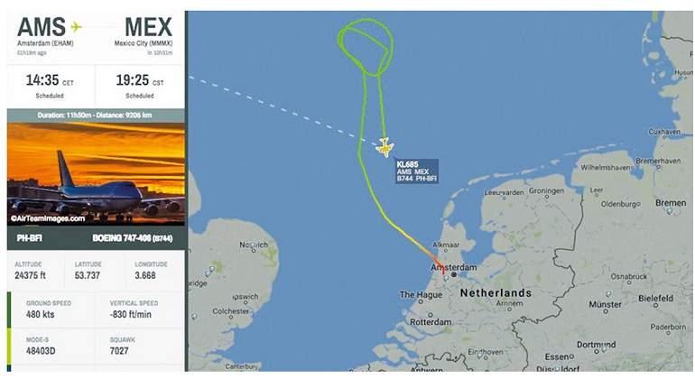 Declaran estado de emergencia en un vuelo Ámsterdam-México