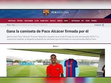 Al Barça se le escapa en su web el fichaje de Paco Alcácer y luego lo borra