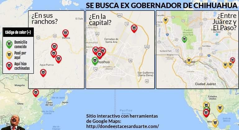 Crean mapa interactivo para rastrear a César Duarte