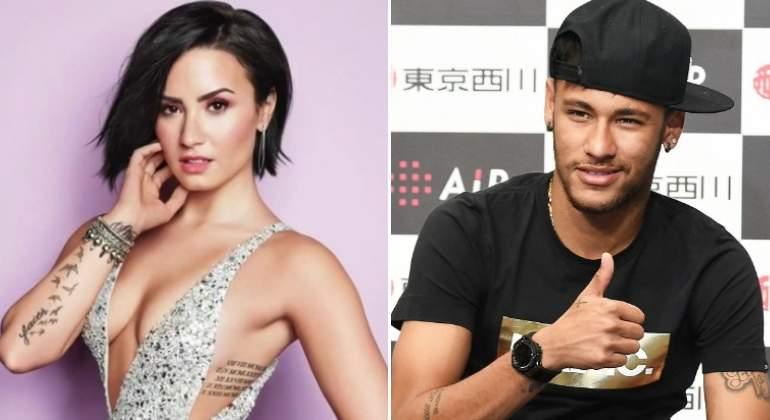 Neymar se motiva con Demi Lovato presente