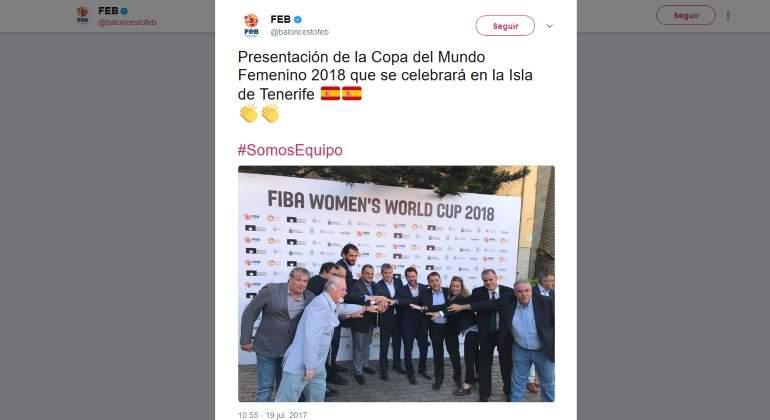 Polémica imagen: la FEB presenta el Mundial femenino de baloncesto... ¡con casi pleno de hombres en la foto!