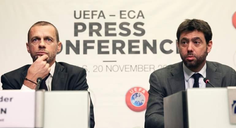 El presidente de la UEFA Aleksander Ceferin durante una conferencia de prensa conjunta con el jefe de la Asociacin de Clubes Europeos ECA Andrea Agnelli