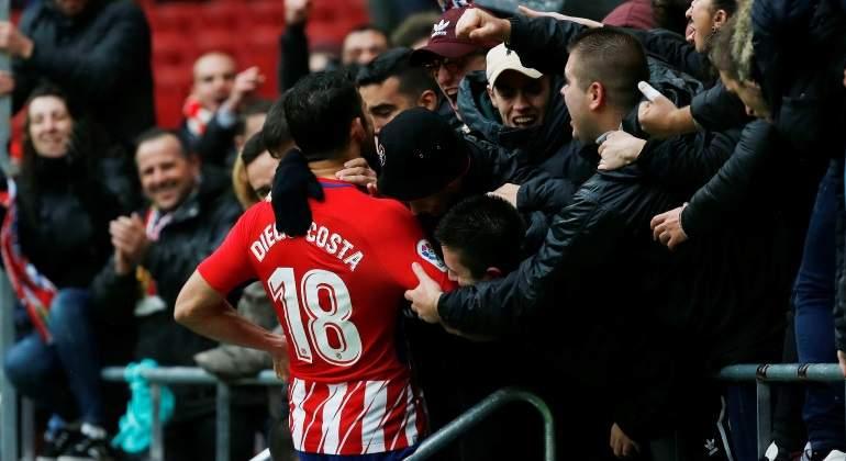 Costa volvió a marcar y se fue expulsado en triunfo del Atlético