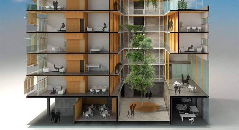 Una cooperativa empieza a construir el edificio de madera for Cooperativa pisos madrid