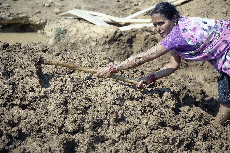 Una agricultora de la India
